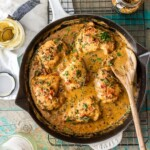 This One Pot Chicken and Bacon Skillet made with white wine and cream is such an easy romantic DELICIOUS meal! Full of flavor and fool-proof! One of our favorite one pot meals!