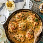 mustard chicken and bacon in a skillet