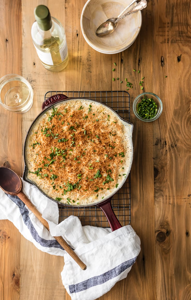 Large Batch White Cheddar Mac and Cheese in a skillet