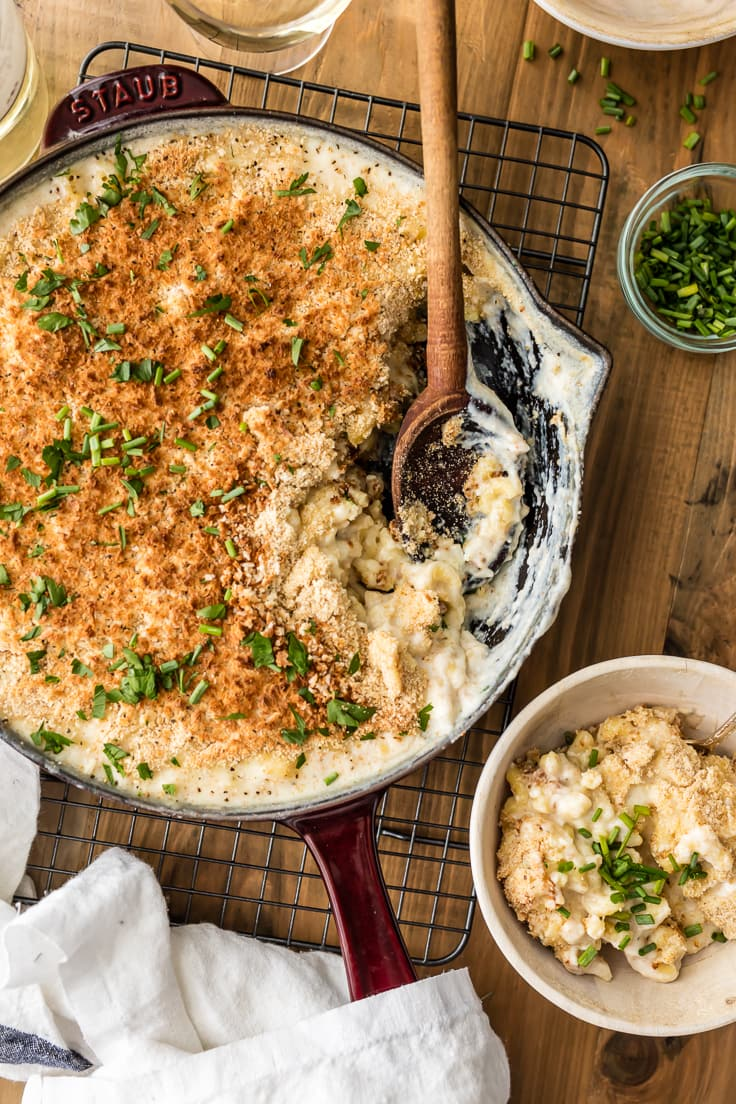 White Cheddar Macaroni and Cheese in a skillet