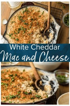 White Cheddar Mac and Cheese is one of my favorite macaroni and cheese recipes. This Large Batch Skillet Mac and Cheese is the perfect EASY ONE POT DINNER for any night of the week. So much cheese and so much flavor!