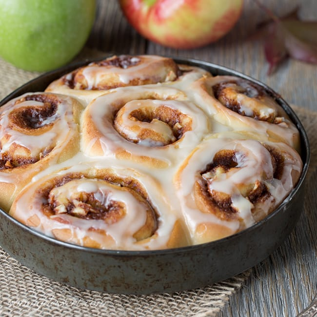 Apple Cinnamon Rolls with Apple Cider Glaze | Saving Room for Dessert