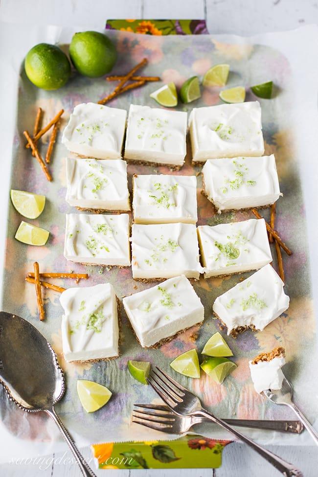 Creamy Margarita Pretzel Bars | Saving Room for Dessert