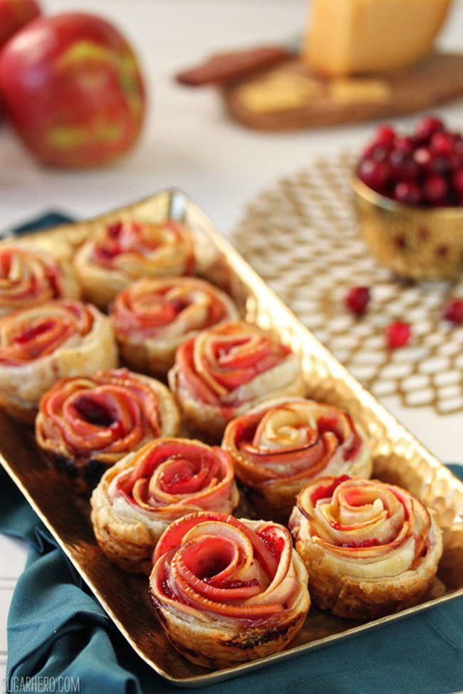 Apple Cranberry Gouda Puff Pastry Roses | Sugar Hero