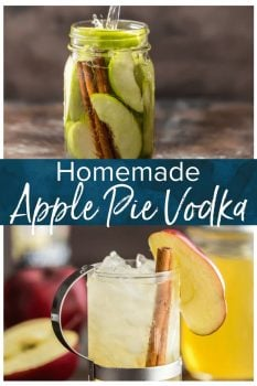 Homemade Apple Pie Vodka is an easy gift idea for Fall. This Homemade Vodka recipe is so simple and so delicious! This simple Apple Vodka also makes the best fall cocktail: Apple Pie Spritzer!