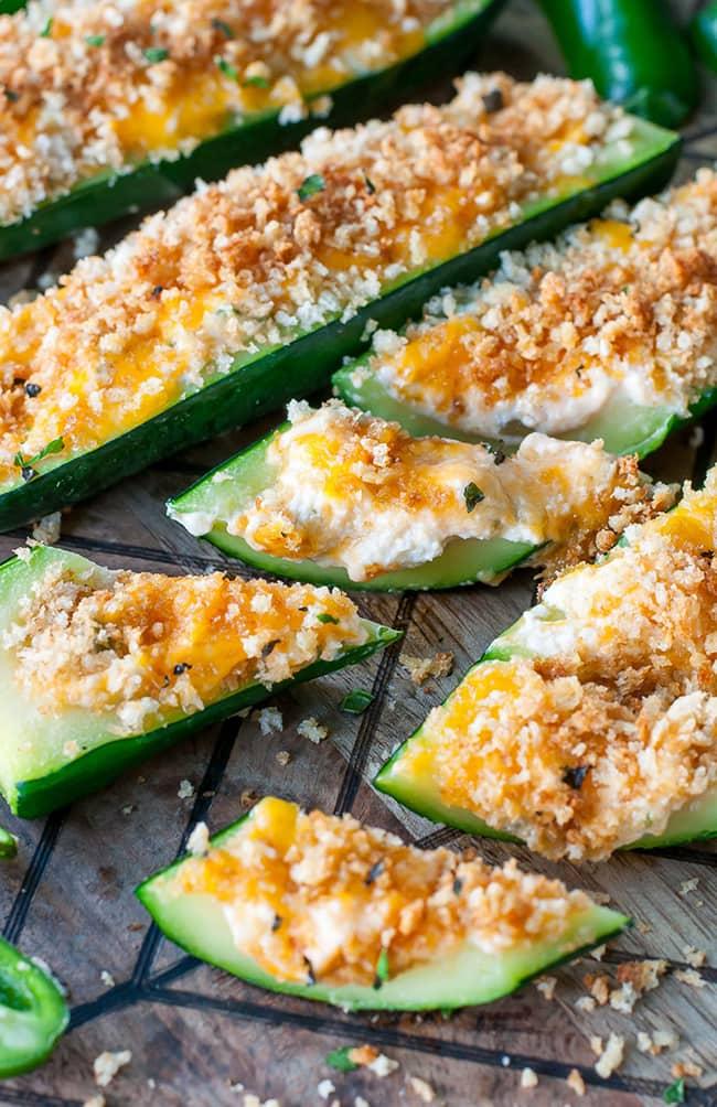 Cheesy Jalapeno Popper Stuffed Zucchini Boats | Peas and Crayons