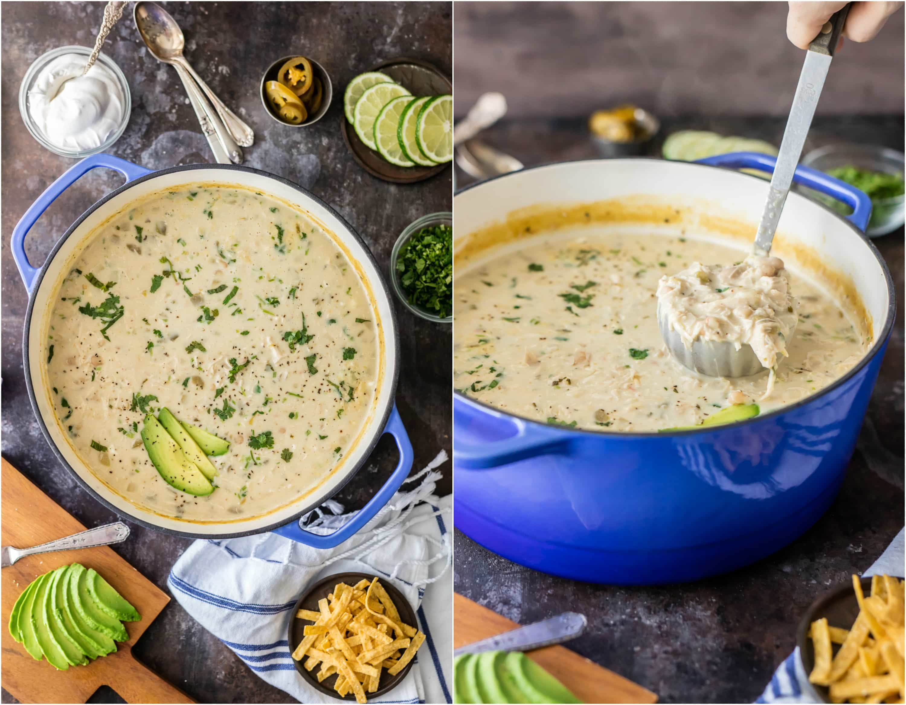 creamy white chicken chili in a dutch oven