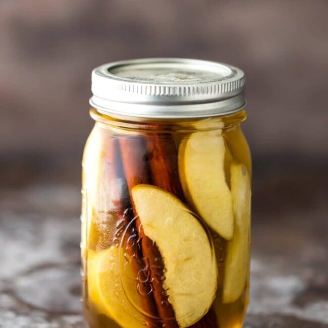 homemade apple pie vodka in a mason jar