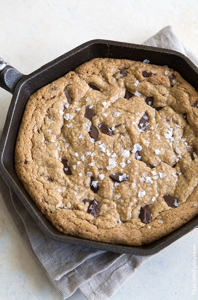 Peanut Butter Chocolate Chunk Skillet Cookie | The Little Epicurean
