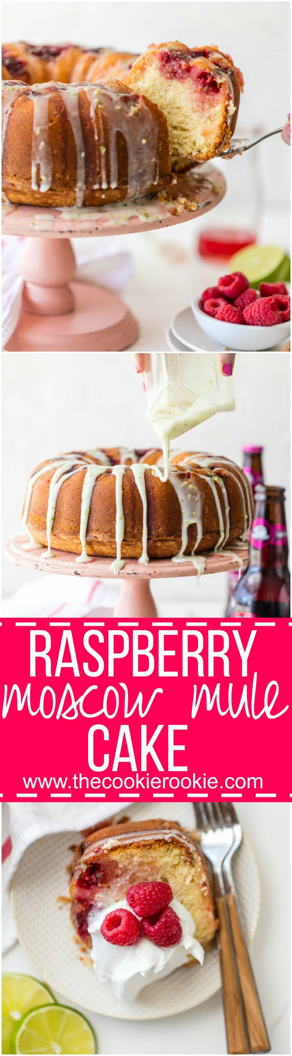 This RASPBERRY MOSCOW MULE CAKE makes life a little bit sweeter! Made with fresh raspberries, ginger beer, raspberry moscow mule simple syrup, and fresh lime glaze! YUM!
