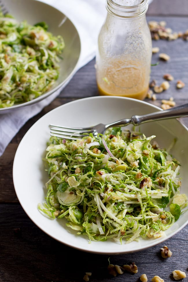 Shaved Brussels Sprout Salad with Apples and Walnuts | Back to Her Roots