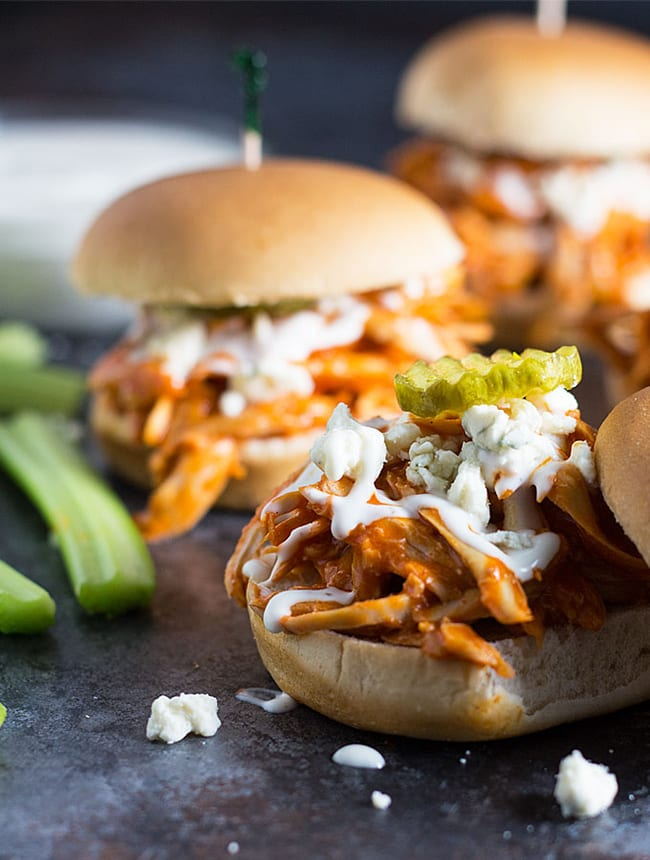 Shredded Buffalo Chicken Sliders | The Blond Cook