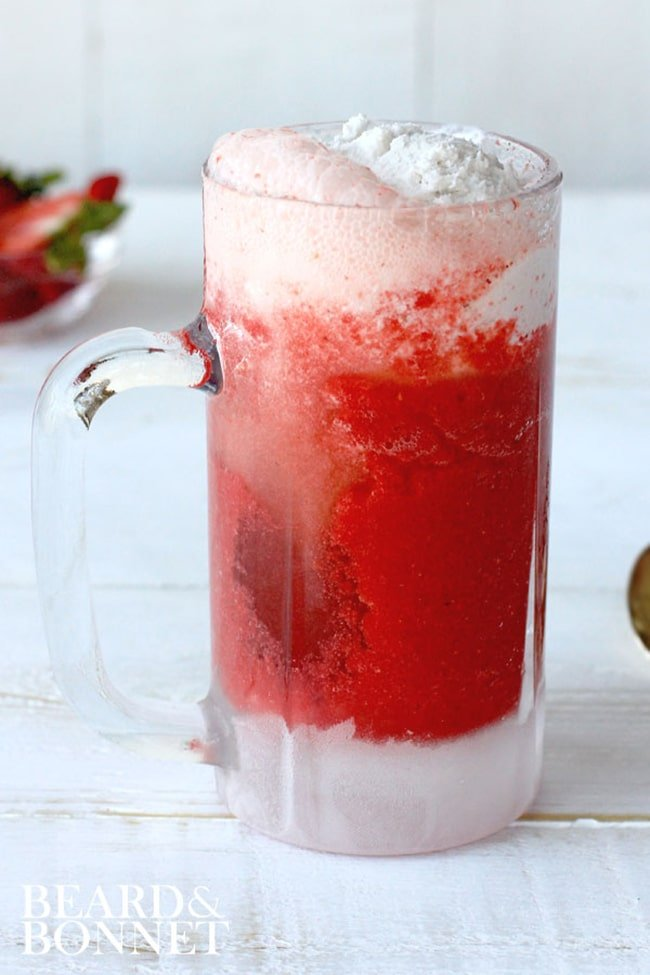 4-Ingredient Strawberry Ginger Coconut Ice Cream Float | Beard and Bonnet