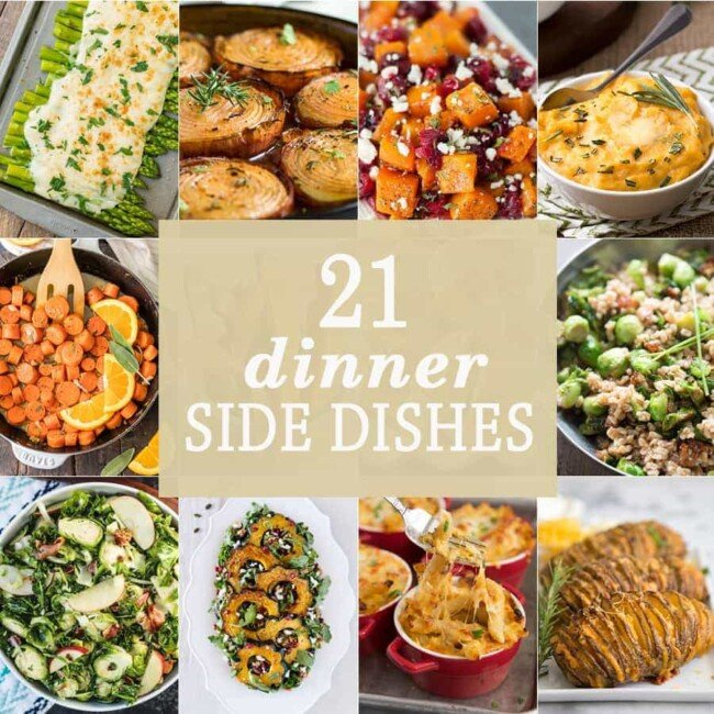 21 DINNER SIDE DISHES perfect for Thanksgiving and Christmas! The BEST holiday side dishes for every party and get together! Everything from mac and cheese to veggies!