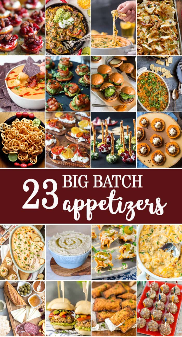 23 BIG BATCH APPETIZERS perfect for feeding a crowd on game day! The BEST appetizer recipes to feed lots of people while tailgating, especially perfect for the SUPERBOWL!