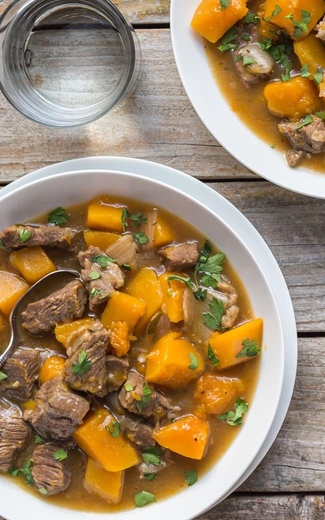 Gluten Free Beef and Butternut Squash Stew | Noshtastic