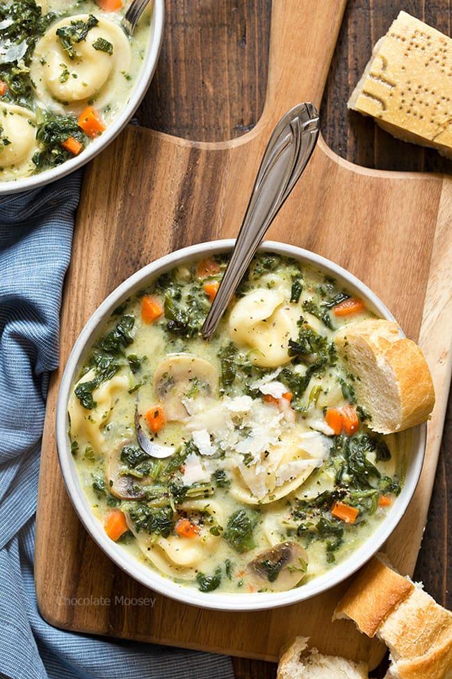 One Pot Spinach Mushroom Dumpling Soup | Chocolate Moosey