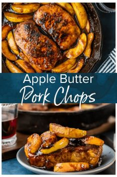 Apple Butter Pork Chops are the perfect ONE PAN recipe for fall and winter! These skillet pork chops with apples are so juicy and flavorful when cooked in the apple butter, and it's just so delicious. And as a bonus, there's only ONE SKILLET to clean!