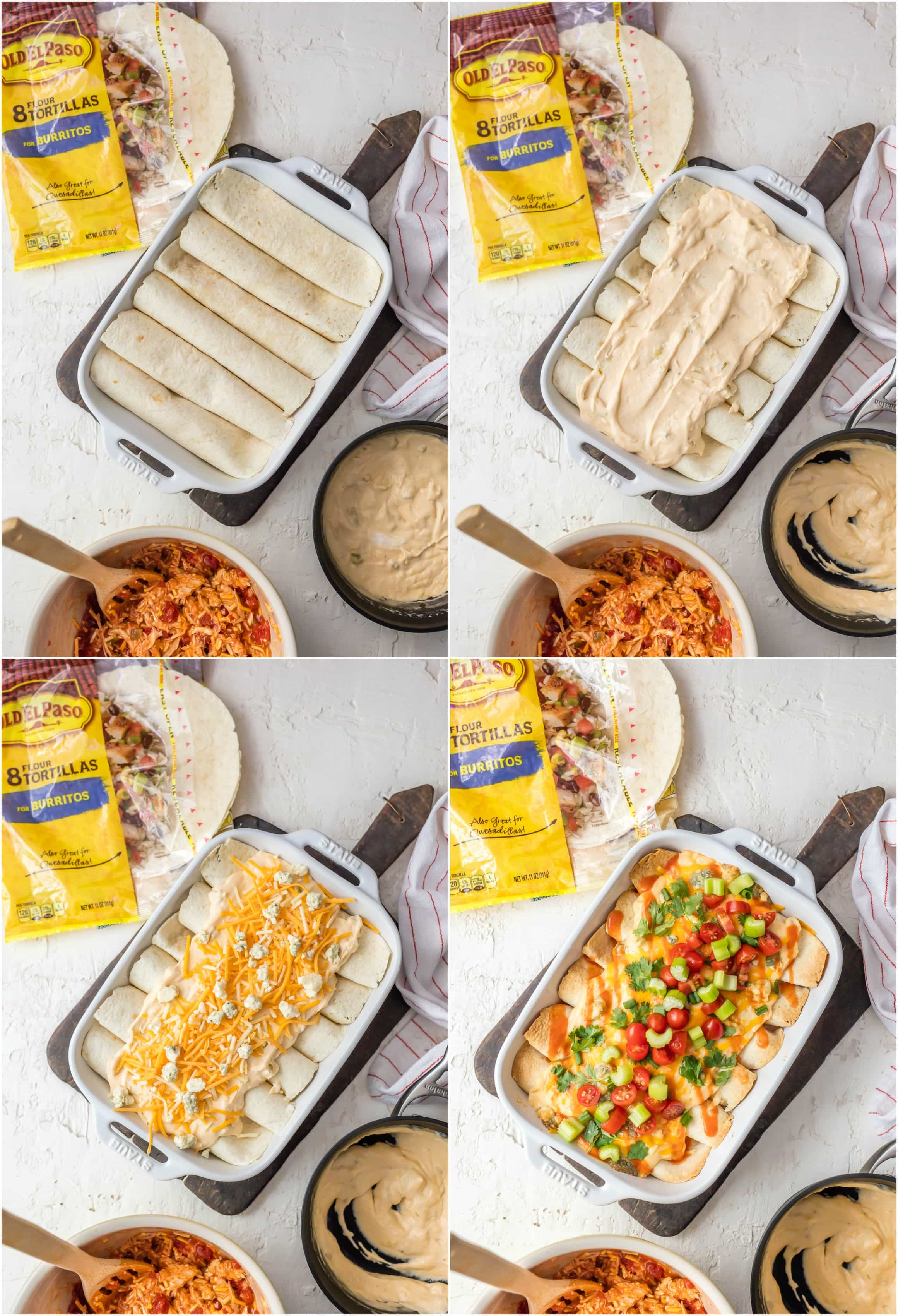 Creamy Buffalo Chicken Enchiladas are SO EASY and delicious. The perfect amount of creamy and spicy. They're loaded with buffalo chicken and then topped with a celery and blue cheese cream cheese queso! Sure to please!
