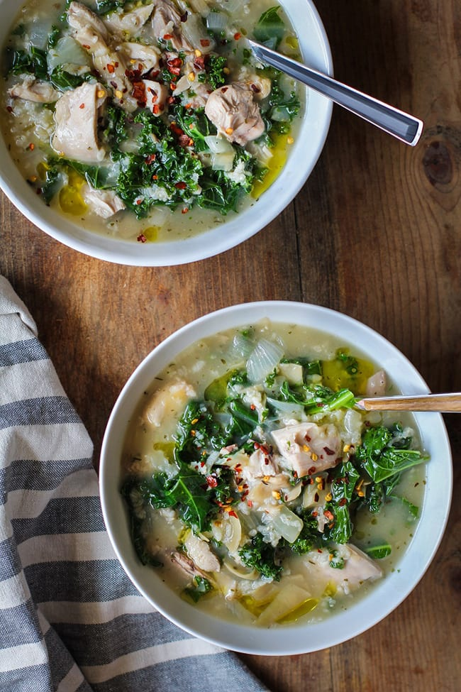 Crock Pot Chicken Artichoke Kale Soup | The Roasted Root