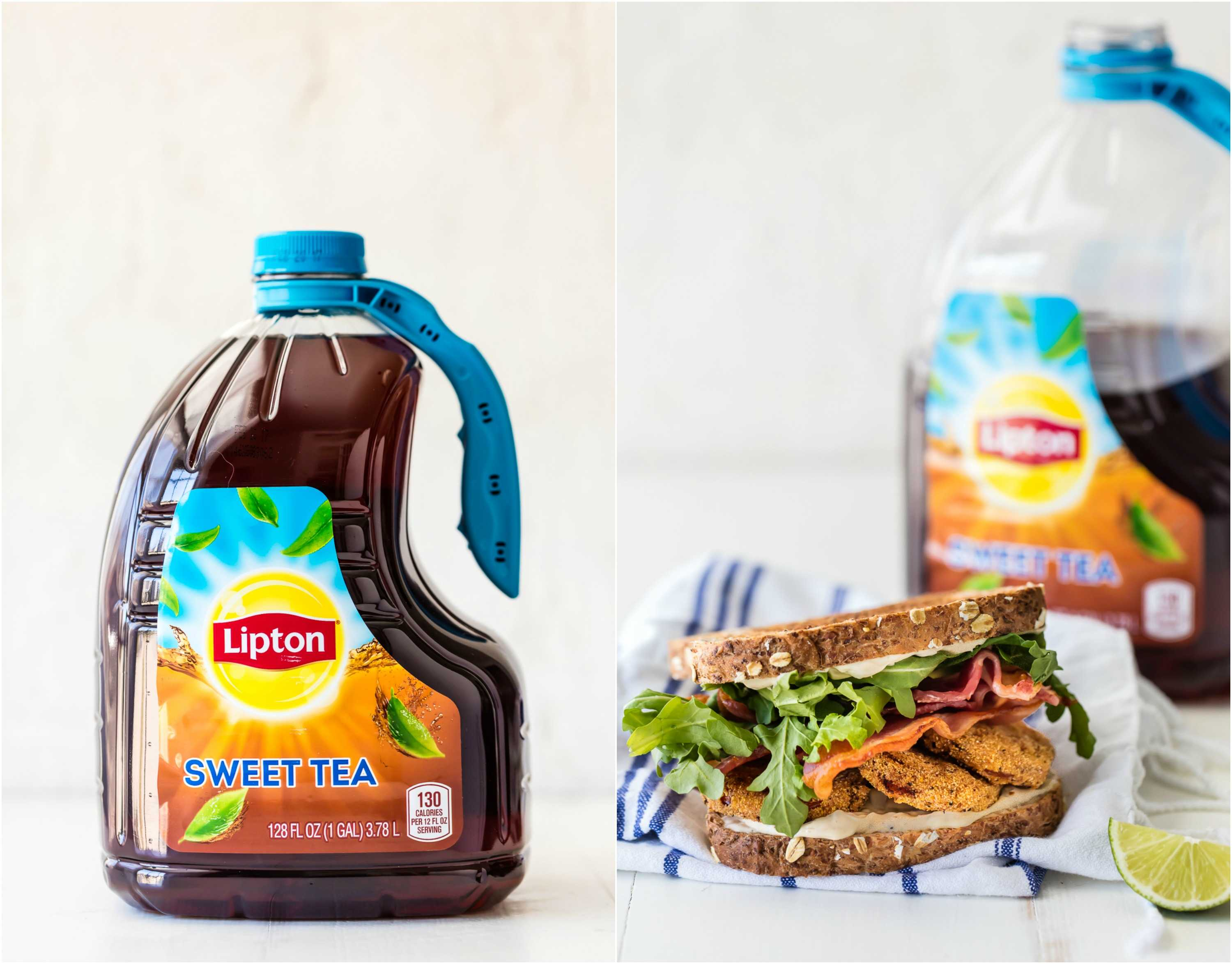 Photo Collage: a jug of Lipton Sweet Tea and a BLT sandwich
