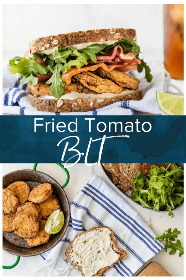 This BLT recipe with Fried Tomatoes and Cilantro Lime Mayo is the best sandwiches ever! Re-imagine this classic sandwich recipe and make it a family favorite. Loaded with herbed fried tomatoes, cilantro lime mayo, arugula, and BACON!