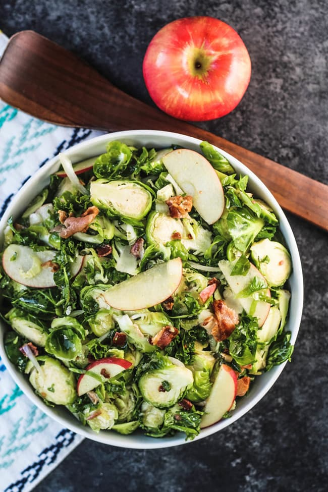 Kale Brussels Sprouts Salad with Apple and Bacon | Blackberry Babe