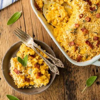Baked Pumpkin Bacon Mac and Cheese