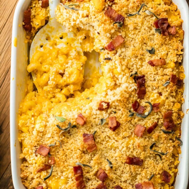 pumpkin bacon mac and cheese in a baking dish