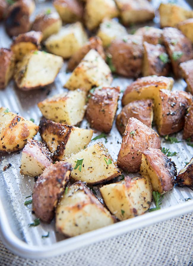 Garlic Parmesan Roasted Potatoes | Like Mother, Like Daughter