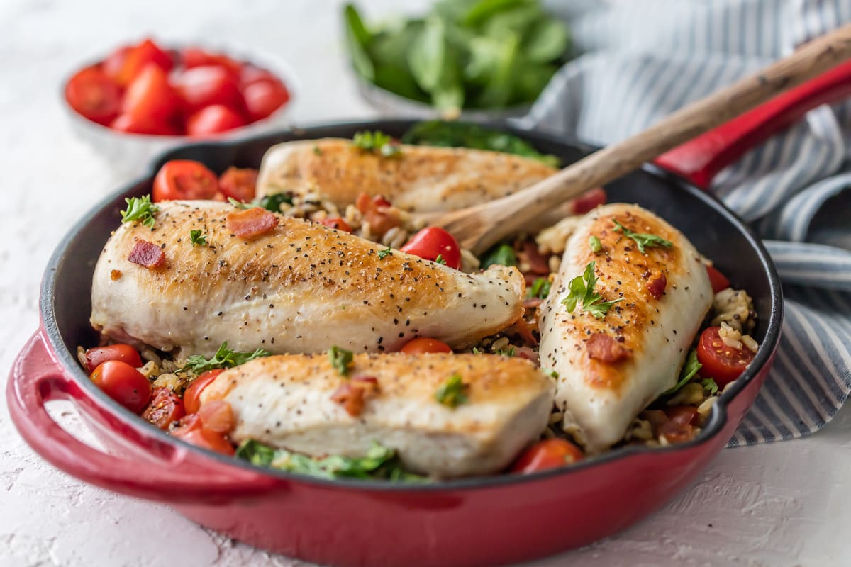 Chicken and Rice Skillet recipe with spinach, tomatoes, and bacon