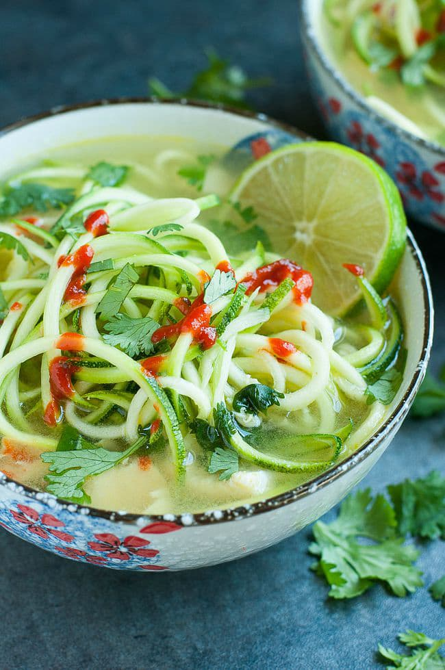 Spicy Sriracha Lime Chicken Zoodle Soup | Peas and Crayons
