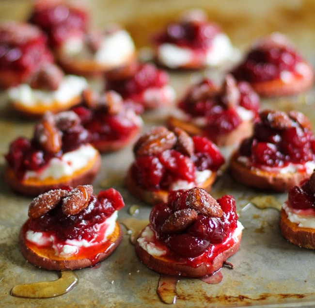 Sweet Potato Rounds with Goat Cheese and Roasted Cranberries | The Roasted Root
