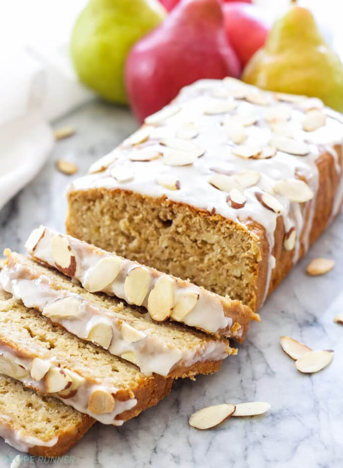 Cardamom Pear Bread with Almond Glaze | Spoonful of Flavor