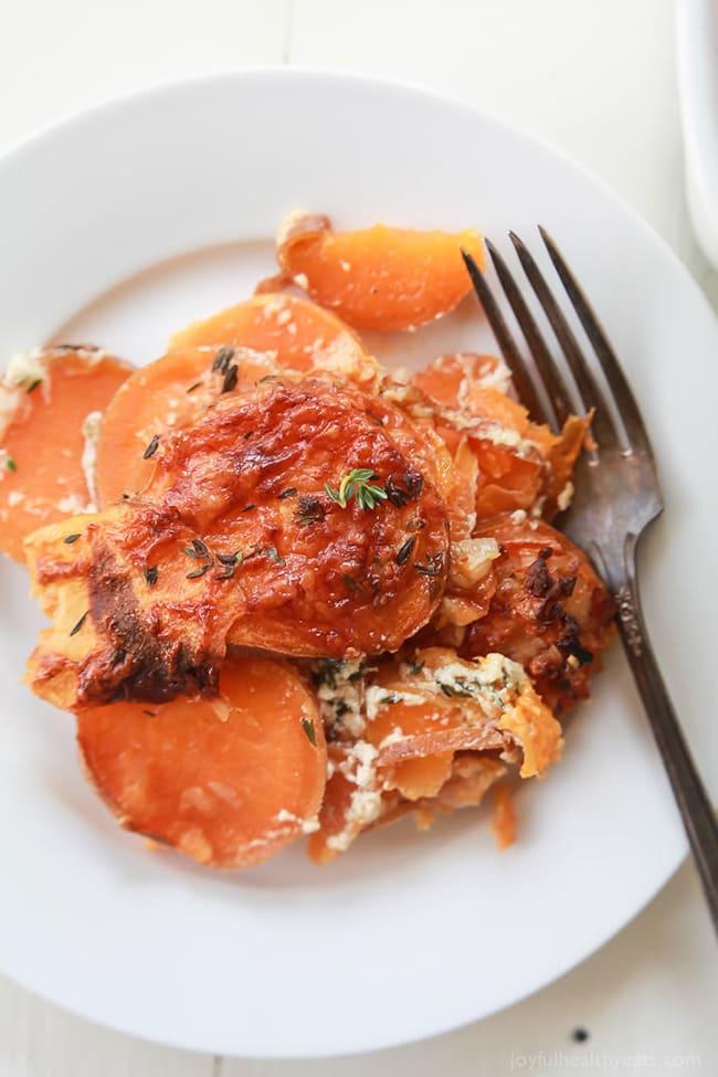 Cheesy Scalloped Sweet Potatoes Casserole | Joyful Healthy Eats