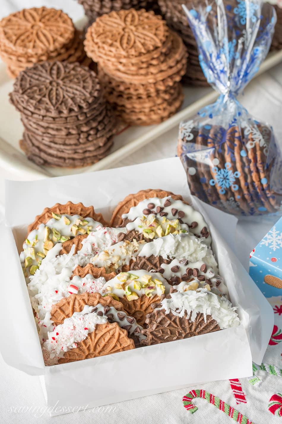 Chocolate Pizzelles | Saving Room for Dessert