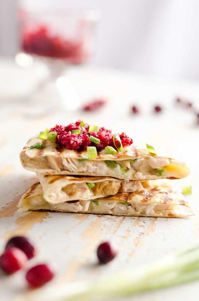 Light Turkey Quesadillas with Cranberry Salsa | The Creative Bite