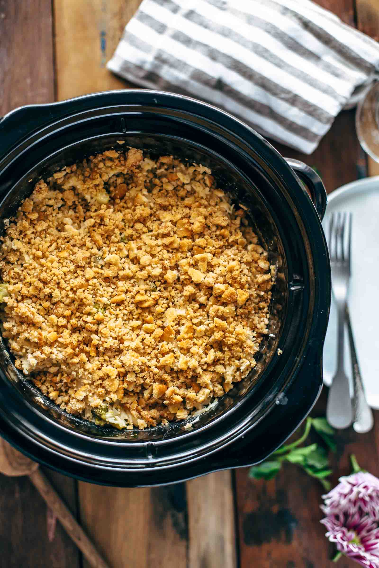overhead shot of velveeta broccoli rice casserole in a slow cooker