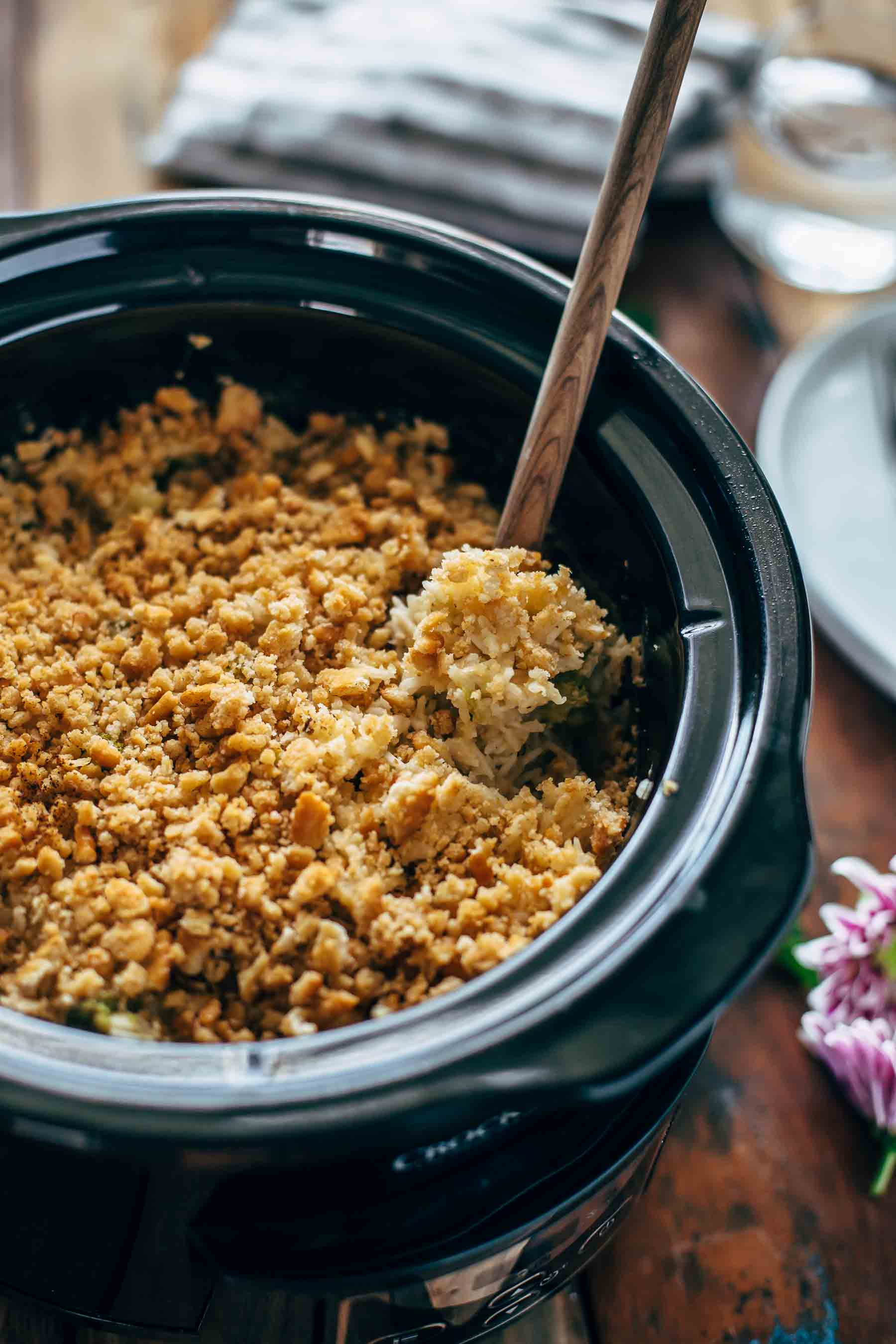 slow cooker velveeta broccoli rice casserole in a crock pot