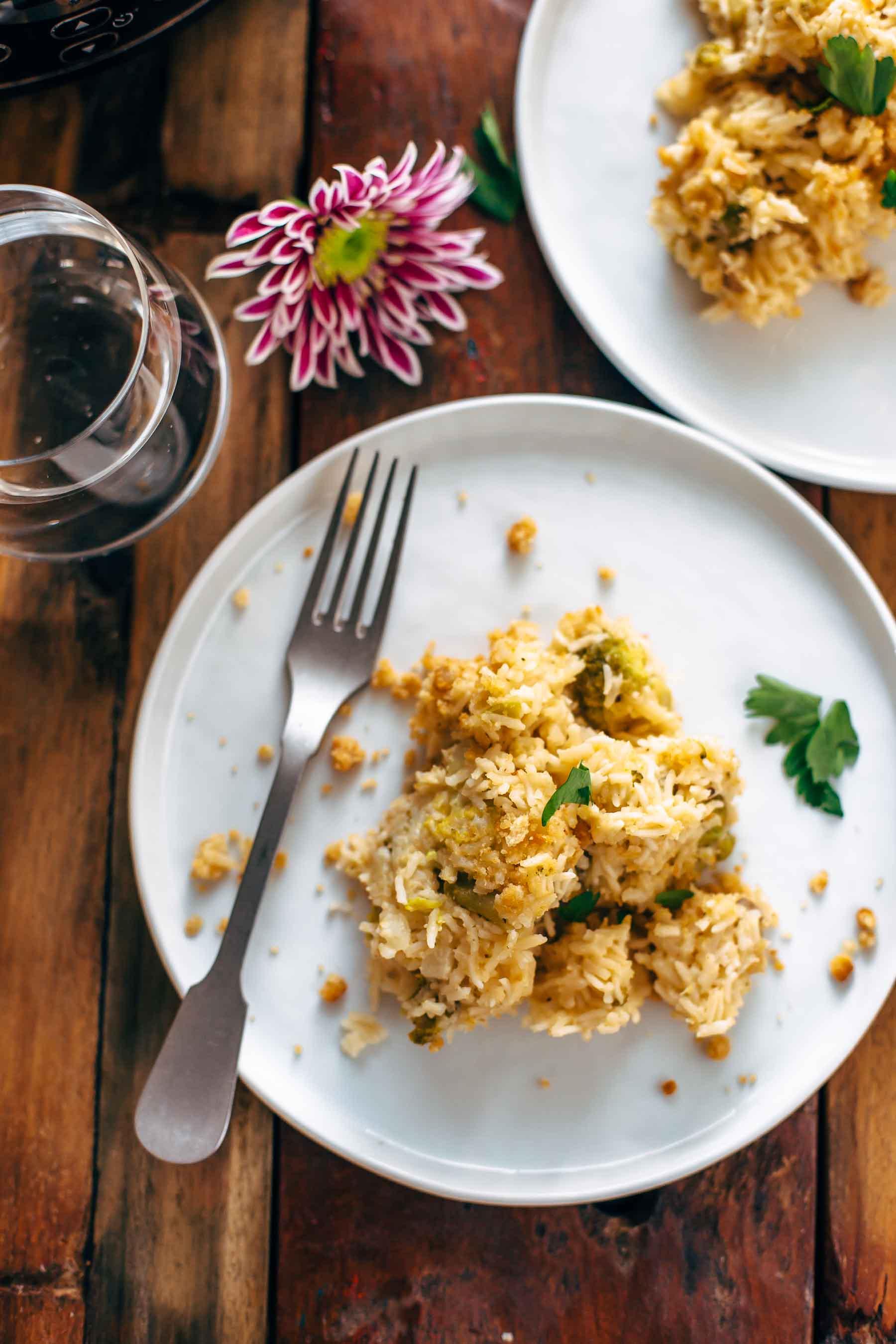 velveeta broccoli rice casserole on a plate