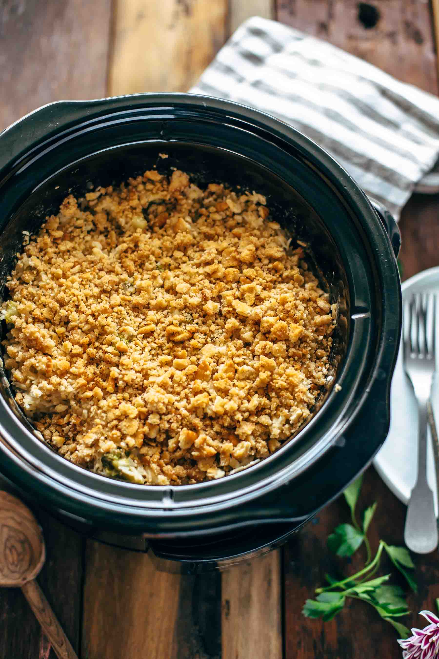 cheesy broccoli rice casserole in a crockpot