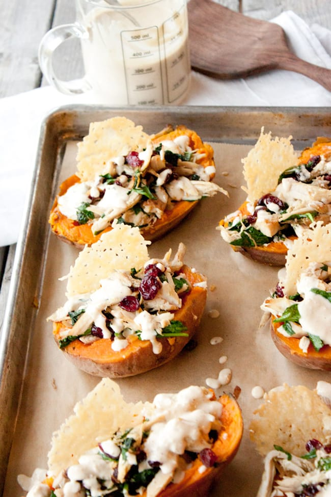 Turkey Caesar Stuffed Sweet Potatoes | Simple Root Wellness