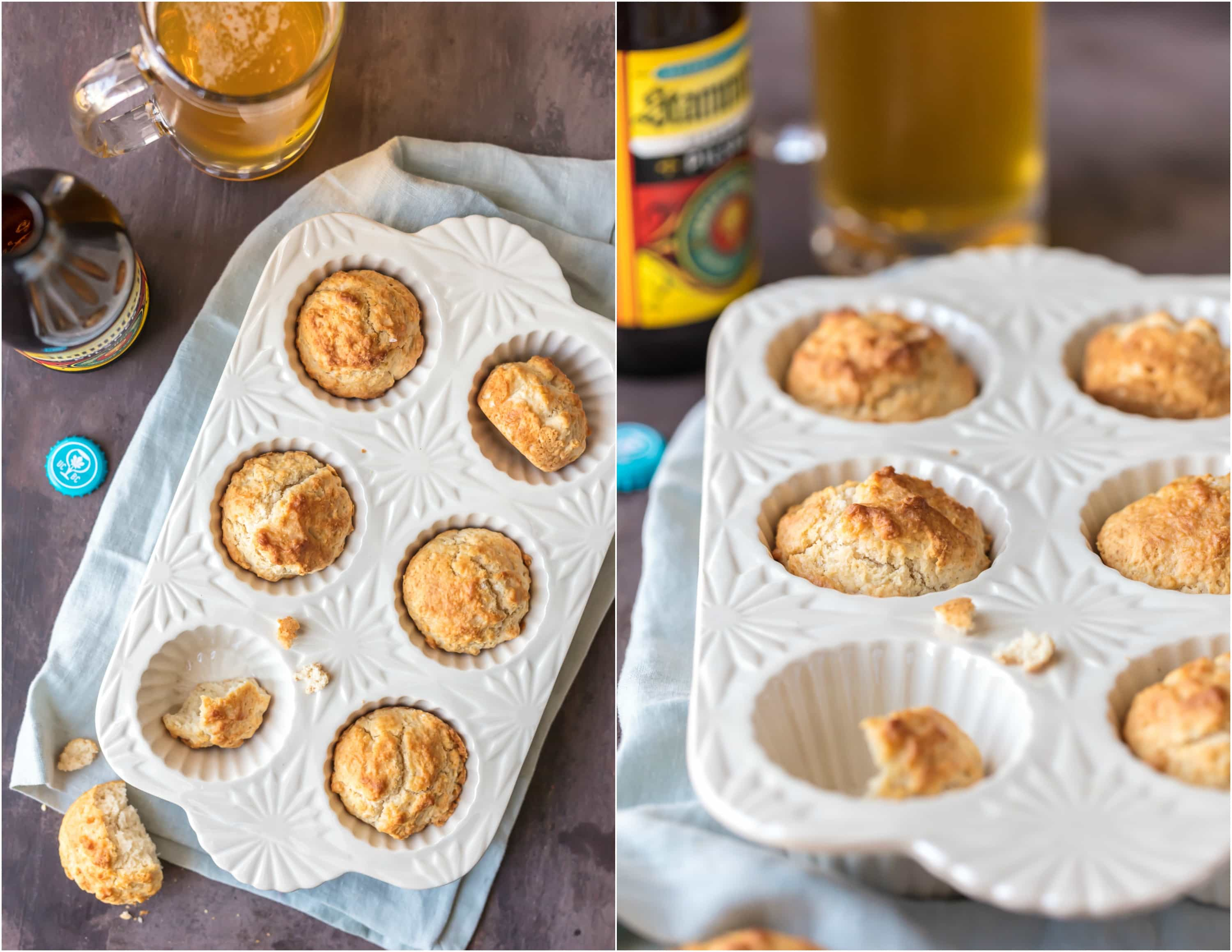 BEER BREAD MUFFINS, my absolute favorite easy bread recipe! These fun little muffins taste like a comforting loaf of beer bread. They're the ultimate addition to any meal, especially Thanksgiving!