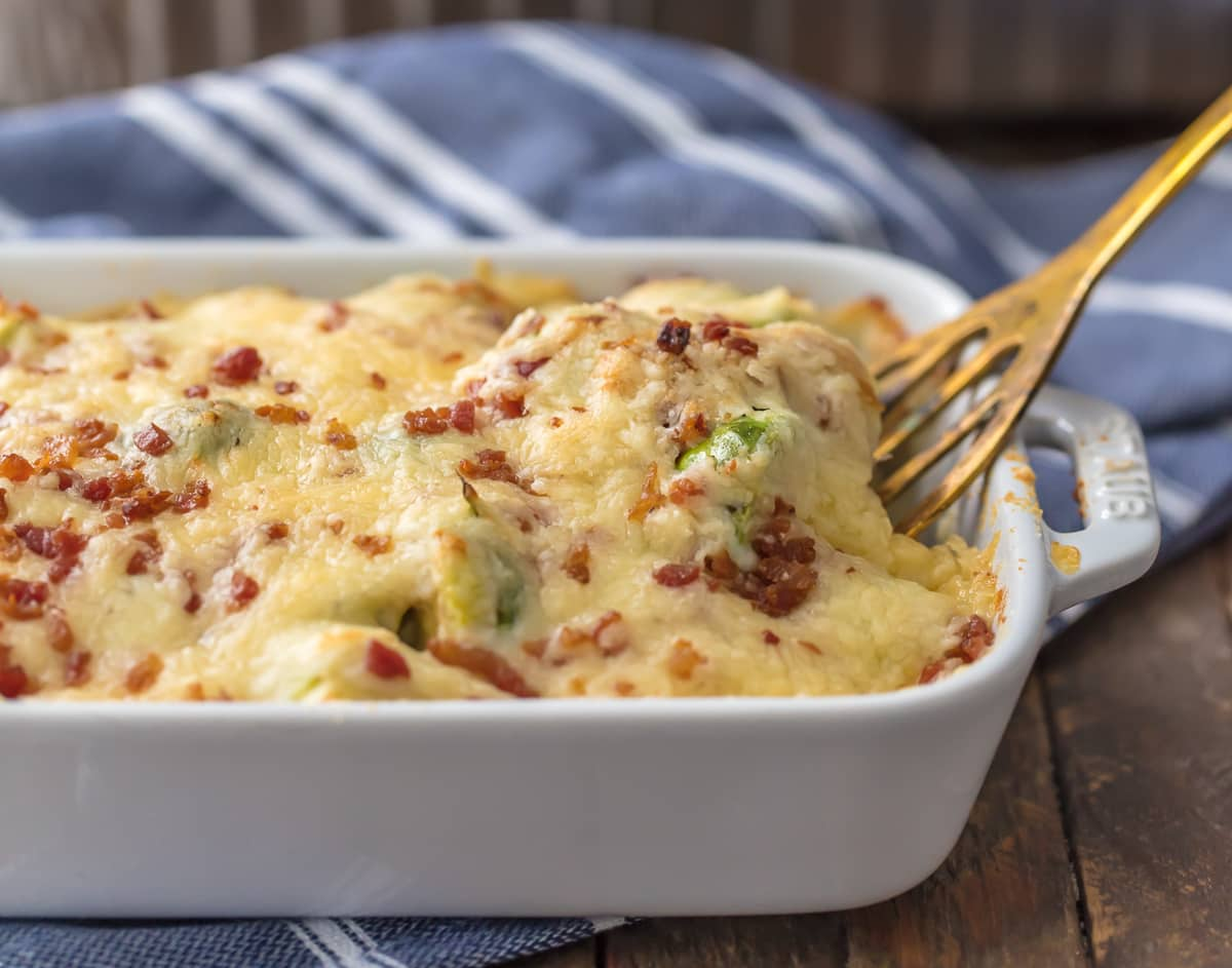 Bacon Brussels Sprouts Au Gratin in a baking dish