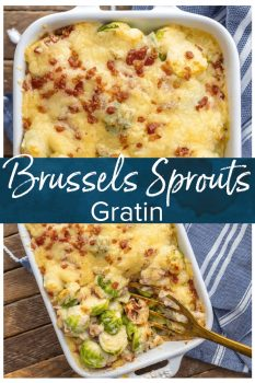 BRUSSELS SPROUTS GRATIN with bacon is the ultimate holiday side dish! Who can resist bacon brussels sprouts when sprinkled with SO MUCH CHEESE? The creamy sauce inside of this brussels sprouts au gratin is so easy and delicious, making this a Thanksgiving favorite for our family.