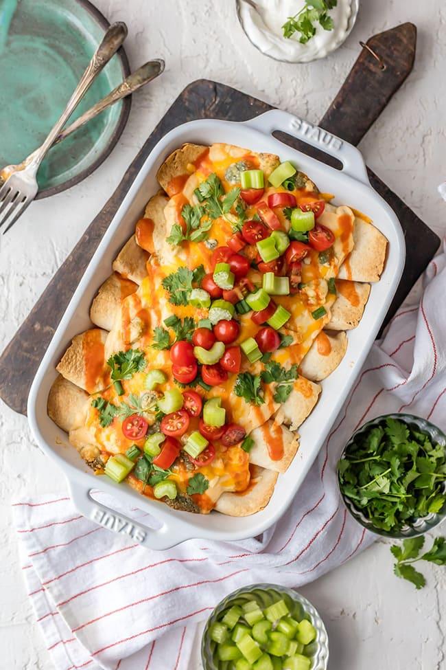 Buffalo Chicken Enchiladas | The Cookie Rookie