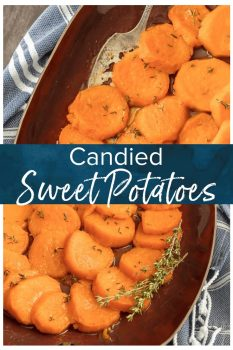 Candied Sweet Potatoes are a must on Thanksgiving! These baked candied sweet potatoes are SO EASY and only contain 4 INGREDIENTS. This easy candied sweet potatoes recipe is simply delicious, the perfect holiday recipe.