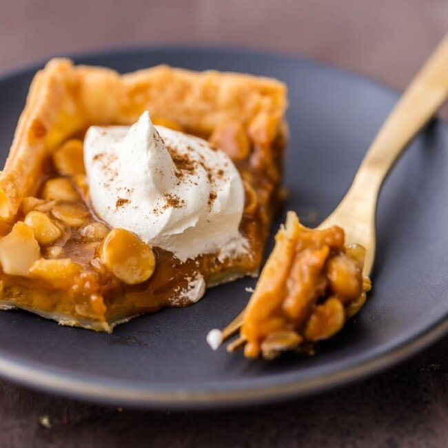 caramel macadamia nut pumpkin pie bar topped with whip cream on blue plate with fork