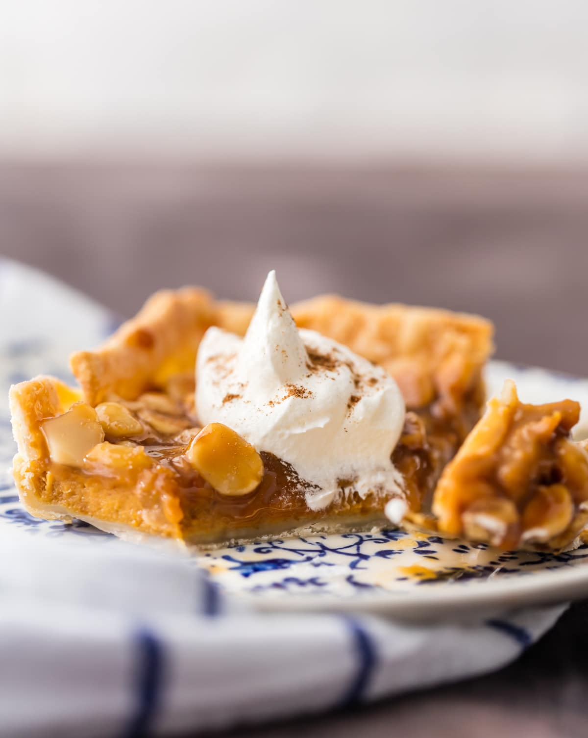 Easy pumpkin bars topped with caramel macadamia topping