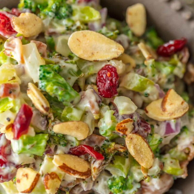 broccoli cranberry almond salad in a bowl